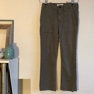 The GREAT. Corduroy green straight leg crop pants